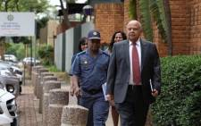 Public Enterprises Pravin Gordhan arrives at Brooklyn Police station to open a case against EFF leader Julius Malema on 26 November 2018. Picture: Abigail Javier/EWN