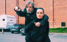 Mark Hamill with his 'Last Jedi' co-star Daisy Ridley. Picture: Instagram/@hamillhimself.