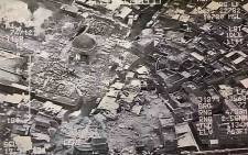 This aerial view taken on 21 June, 2017 and provided by Iraq's Joint Operation Command reportedly shows destruction inside Mosul's Nuri mosque compound. Picture: AFP