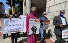 Anglican Archbishop Thabo Makgoba leads a silent protest against government corruption in Cape Town on 15 September 2020. Picture: Kaylynn Palm/EWN