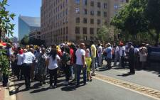 Dozens of students and workers have gathered outside the Johannesburg Magistrates Court ahead of the appearance of 141 people who were at UJ on Friday 6 November 2015. Picture: Gia Nicolaides/EWN.