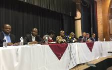 Health Minister Zweli Mkhize and a team of other government officials address media at Cowan Preparatory School in Durban. Picture: Nkosikhona Duma/EWN.
