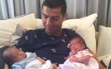 Cristiano Ronaldo with his new twin babies. Picture: @Cristiano