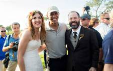 Brian Tobe and his bride Stephanie Mirkin with President Barack Obama at the wedding on Sunday 11 October 2015. Picture: Jeff Youngren/theyoungrens.com.
