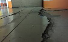 The X-ray department at the Charlotte Maxeke Academic Hospital has a series of cracks running through the floor. Picture: Vumani Mkhize/EWN.