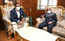 King Misuzulu kaZwelithini Zulu meets with KZN Premier Sihle Zikalala at the kwaKhangelamankengane palace on 13 May, 2021. Picture: KZN Government.