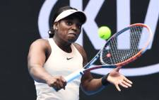 Sloane Stephens of the US hits a return against China's Zhang Shuai during their women's singles first round match on day one of the Australian Open tennis tournament in Melbourne on 15 January, 2018. Picture: AFP