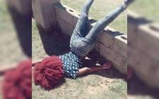 A person participating in the latest internet craze, the dead pose. Picture: Twitter.