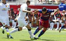 Barcelona's Luis Suarez challenges for the ball in a pre-season tour friendly match against Manchester United in California, USA on 25 July 2015. Picture: Barca/Facebook.