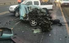 Four adults and a three-year-old child were killed when a heavy-duty truck crashed into a car on the N3.. Picture: @Netcare911_sa.