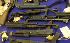 Firearms confiscated by police are displayed. Picture: Werner Beukes/SAPA