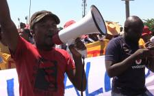 Abahlali spokesperson Mandla Phengwa leads a housing protest march in Freedom Park, Picture: Vumani Mkhize/EWN.