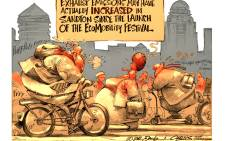 Cartoon: Is the EcoMobility Festival forcing motorists to exercise? Or is the heatwave exhausting us?