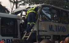 One person was confirmed dead after two Metrobuses collided in Parkview on Jan Smuts road on 24 April 2015. Picture: EWN