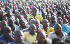 Lonmin workers gather at the Wonderkop Stadium during a wage strike. Picture: Taurai Maduna/Eyewitness News.