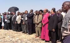 Religious leaders wait to address miners at Lonmin's Marikana Mine. Picture: Andrea van Wyk/EWN.
