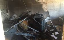 The residents office at the Vaal University of Technology set alight on Wednesday evening. Picture: Kgothatso Mogale/EWN.