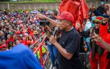 Economic Freedom Fighters (EFF) leader Julius Malema in Inanda, KZN, on 26 October 2021. Picture: @EFFSouthAfrica/Twitter.