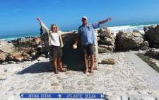 The Hannath's travelled over 32,000km to raise funds and awareness for the new Nelson Mandela Children's Hospital. Here they are arriving in Cape Agulhas, the southernmost tip of South Africa. Picture: Supplied.