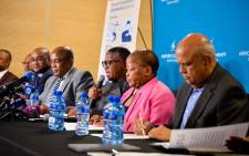 Ministers, their deputies and DGs at an inter-ministerial briefing on 17 March 2020 on the measures being implemented to contain the spread of the coronavirus. Picture: @MbalulaFikile/Twitter