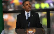 US President Barack Obama delivering his tribute to Nelson Mandela. Picture: Sapa.