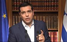 A screengrab shows Greek Prime Minister Alexis Tsipras addressing the nation in Athens on 1 July 2015. Picture: AFP.