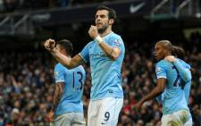 Manchester City's Alvaro Negredo celebrates his goal after scoring against Liverpool during the English Premier League on 26 December 2013. Picture: Facebook.