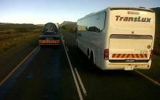 FILE: A Translux bus was photographed while illegally overtaking across a solid line on 24 July 2012. Picture: Supplied.