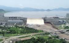 This frame grab from a video obtained from the Ethiopian Public Broadcaster (EBC) on 24 July 2020 shows an aerial view of water levels at the Grand Ethiopian Renaissance Dam in Guba, Ethiopia. Picture: AFP