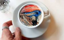 South Korean barista Lee Kang-bin creates miniature imitations of famous paintings, such as Edvard Munch's 'The Scream', on foamy cups of java. Picture: Instagram @leekangbin91
