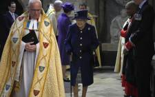 Britain's Queen Elizabeth II smiles as she arrives to attend a Service of Thanksgiving to mark the Centenary of the Royal British Legion at Westminster Abbey in London on 12 October 2021. Picture: Frank Augstein/POOL/AFP