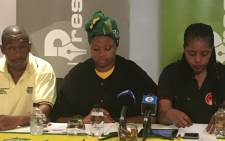 Gugu Ndima and ANCYL members read statements during Occupy Luthuli House briefing. Picture: Clement Manyathela/EWN.