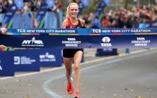 US runner Shalane Flanagan on her way to victory in the 2017 New York City Marathon. Picture: AFP