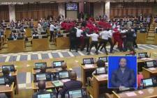 Fists flew as EFF MPs put up a fight when they were pushed and shoved to the door by bouncers.  Picture: Youtube