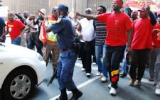 Truck drivers march in the Johannesburg CBD on 15 April, 2009. Picture: Taurai Maduna/Eyewitness News