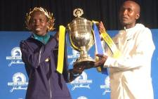 Geoffrey Kirui and Edna Kiplagat, winners of the Boston Marathon. Picture: Twitter @bostonmarathon.