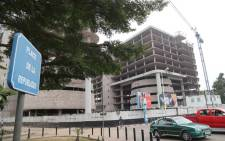 A general view of the construction site for the future Ministry of Interior in Republic Square in Brazzaville on which work was halted in 2016 as the state had no money to pay its suppliers. Picture: AFP