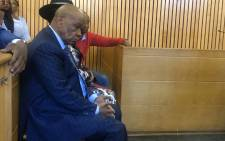 Lesotho PM Tom Thabane (foreground) appears in the Maseru Magistrates Court accompanied by his wife Lesotho First Lady Maesiah Thabane, son Potlako Thabane, Water Minister Samonyane Ntsekele, senior private secretary Thabo Thakalekoala among others. Picture: Nthakoana Ngatane/EWN.