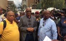 African National Congress secretary general Ace Magashule receives the memorandum from protesting Black First Land Frist members on 5 February 2018. Picture: Ihsaan Haffajee/EWN