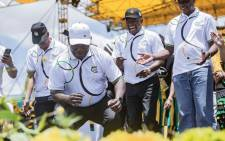 FILE: ANC president Cyril Ramaphosa and other members of the party's top 6 at the 108 birthday celebrations in Kimberley on 11 January 2020. Picture: EWN