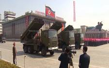 A screengrab of North Korea showing off their military strength during a parade.