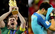 What a difference four years makes. Spain captain Iker Casillas lifts the World Cup in 2010 (left), while things didn't go to plan in 2014 (right). Picture: Facebook.com