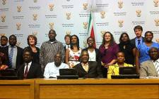 Health Minister Aaron Motsoaledi and the PhD scholarship recipients in Cape Town on 14 March 2013. Picture: Rahima Essop/EWN