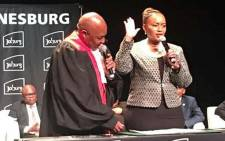 MMC Loyiso Masuku (right) takes the oath of office. Picture: @Loyiso_Masuku/Twitter