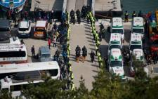 A general view shows the arrival of the bodies of victims of the South Korean ferry at Jindo harbour on 21 April. Picture: AFP.