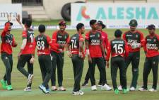 Bangladesh players celebrate a victory against New Zealand in their T20 international match. Picture: tigercricket.com.bd