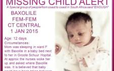 FILE: The 12-day-old baby kidnapped from Groote Schuur Hospital. Picture: The Pink Ladies
