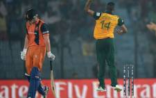 Proteas bowler Beuran Hendricks celebrates taking a wicket against the Netherlands at the World T20 in Bangladesh. Picture: Facebook.
