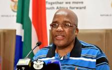 Minister of Health Dr Aaron Motsoaledi updates the media on the status of the current listeriosis outbreak in the country on 8 January 2018. Picture: GCIS