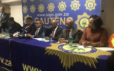 Police Minister Fikile Mbalula addresses the media after assessing the OR Tambo International Airport. Picture: Kgothatso Mogale/EWN.